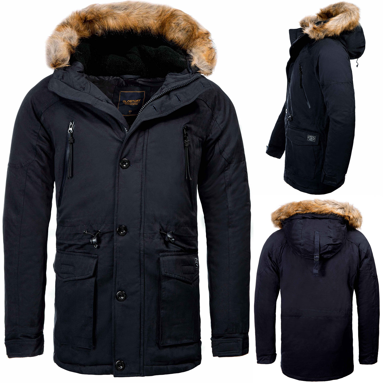 s rpreme herren winter parka kapuze winter mantel stepp jacke bomber bergangs ebay. Black Bedroom Furniture Sets. Home Design Ideas