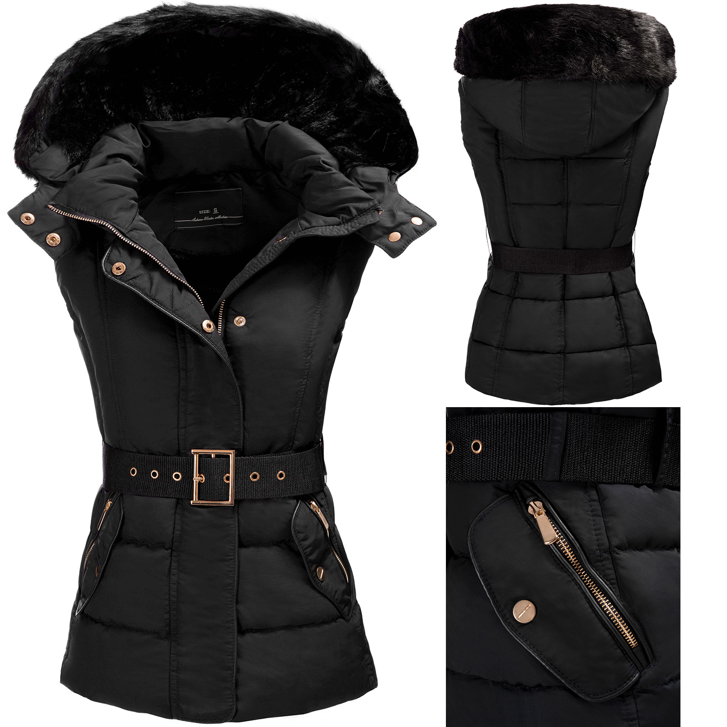gef tterte damen steppweste weste winterjacke jacke damenweste kapuze damenjacke ebay. Black Bedroom Furniture Sets. Home Design Ideas