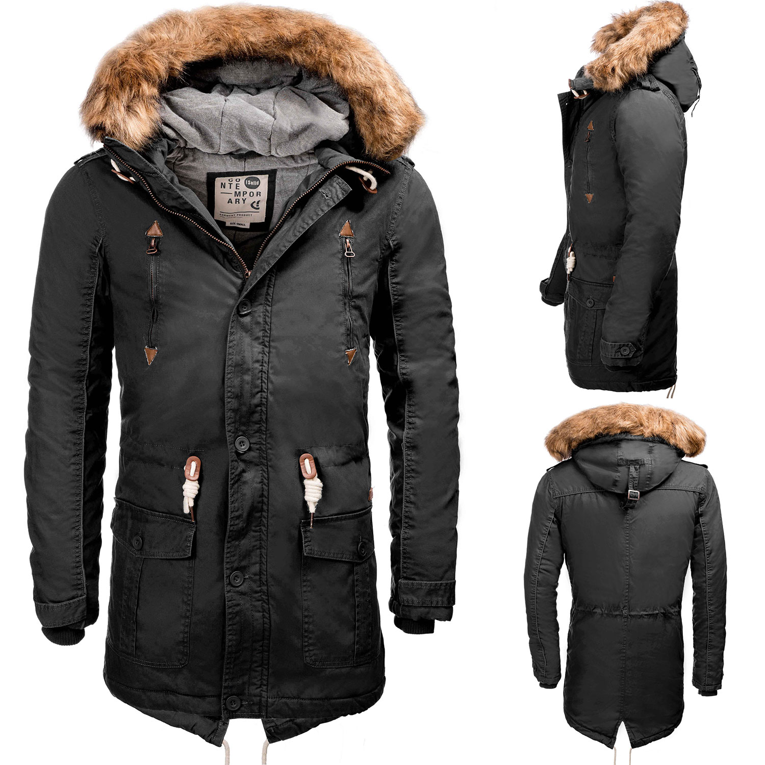 solid herren winter parka kapuze winter jacke kunstfell. Black Bedroom Furniture Sets. Home Design Ideas