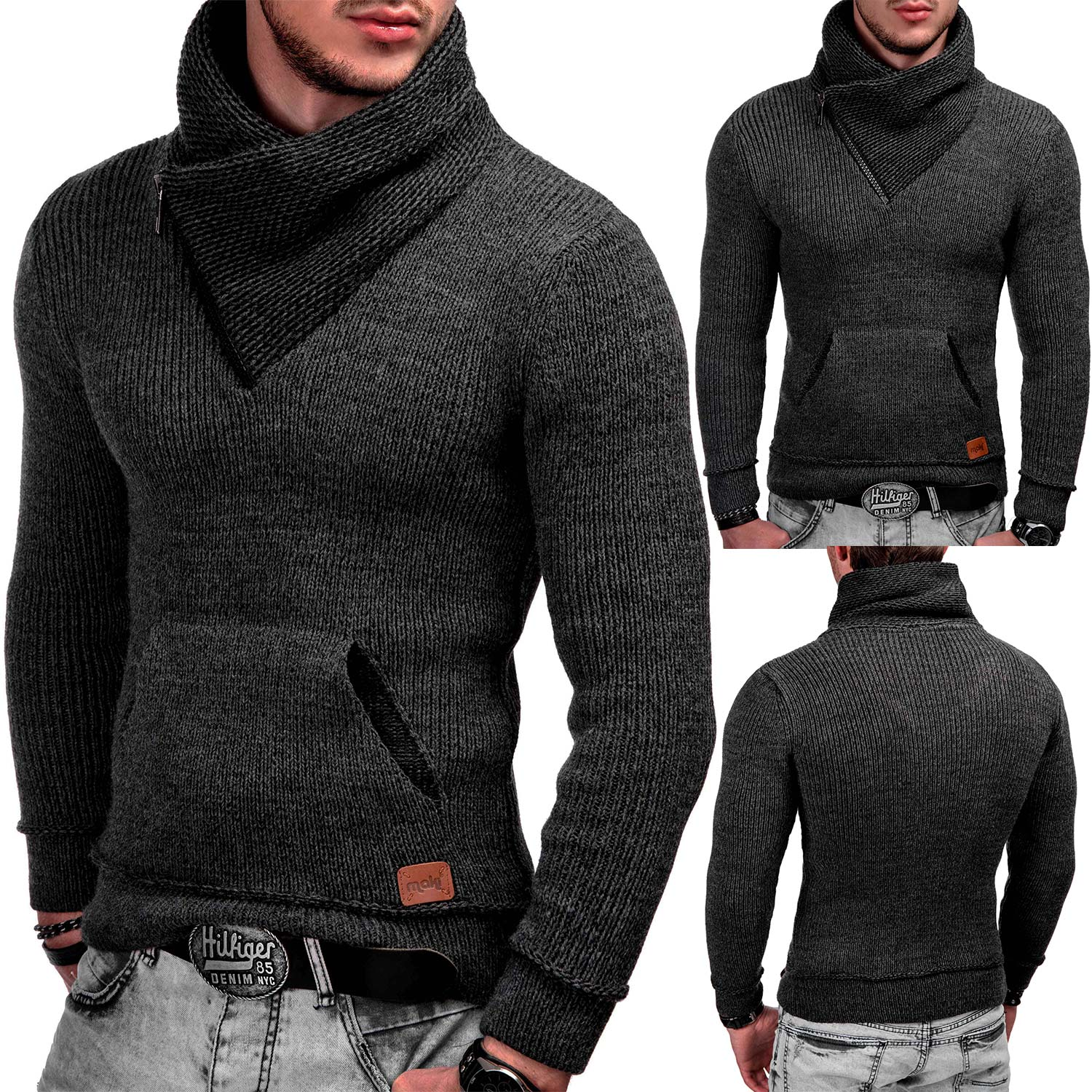 indicode herren winter strick pullover kapuze strickjacke. Black Bedroom Furniture Sets. Home Design Ideas