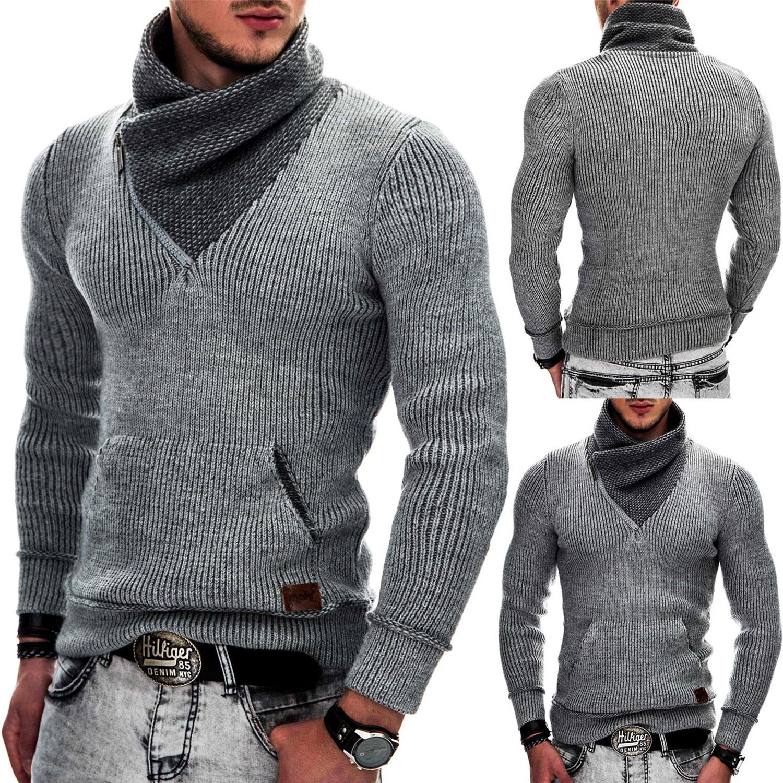 INDICODE Herren Winter Strick-Pullover Kapuze Strickjacke Schal Mütze  Norweger a434dff18f